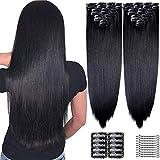 YMHPRIDE 2 piezas de pinzas largas y rectas de cabeza completa en extensiones de cabello 8 piezas 20 pinzas de pelo sintéticas suaves y gruesas para mujeres (22 pulgadas, negro)