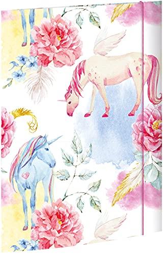 RNK 45327 - Carpeta de dibujo con diseño de unicornio (310 x 440 mm, DIN A3, con cierre de goma, 1 unidad)