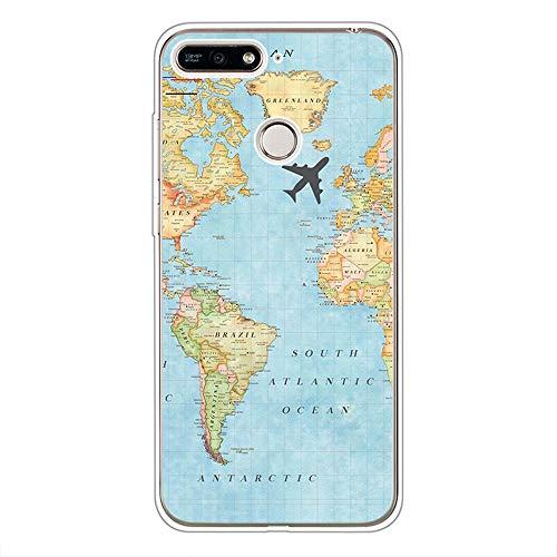 Nodigo Funda per Huawei Y6 2018/Honor 7A Silicona Transparente con Dibujos Motivo Creativo Ultrafina Slim One Piece Carcasa Case Antigolpes Bumper Kawaii Resistente Cover - Mapa