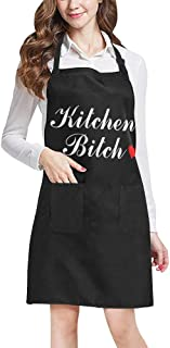 INTERESTPRINT Funny Kitchen Bitch Home Kitchen Apron for Women Men with Pockets, Unisex Adjustable Bib Apron for Cooking Baking Gardening, Large Size
