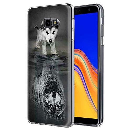 Pnakqil Samsung Galaxy J4 Plus Cover Trasparente, Premium Custodia Silicone con Disegni Leggero Ultra Sottile TPU Morbido Antiurto 3d Pattern Bumper Case per Samsung Galaxy J4 Plus, Cane Lupo