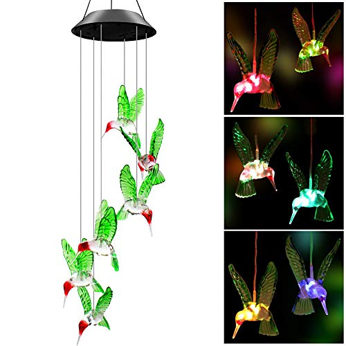 Swonuk Solar LED Windspiel, Kolibri Windspiele Lichterkette LED-Mobile Windspiel mit Wasserdicht Farbwechsel, für Haus/Party/Patio/Nacht Garten Dekoration