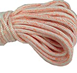 5/8 Inch by 120 Feet 12 Carrier 24 Strand Polyester Arborist Bull Rope, White Orange