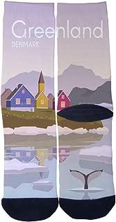 Men's Women's Custom Crew Socks Greenland Village Port city Seaport Poster Socks Colorful Patterned Comfortable Socks