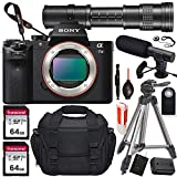 Sony Alpha a7 II Mirrorless Digital Camera (Body Only) with 420-800mm Telephoto Lens + 2X 64GB Memory Card, Microphone, Portable Tripod, Gadget Bag & More