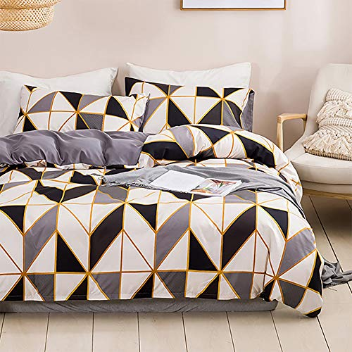 Dencalleus Brushed Bedding Sets Microfibre Soft Geometric Duvet Cover Set, Double Size, Hotel Quality Quilt Covers with Pillowcases and Easy Care, Grey