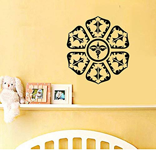 Verwijderbare Indiase prachtige Mandala boeddhistische muur Sticker Woonkamer Verwijderbare Vinyl Sticker Huis Decoratie Behang 57x62cm Donkergrijs