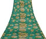Svasti Blätter & Pfirsich Blumenaquarell Vintage-Sari