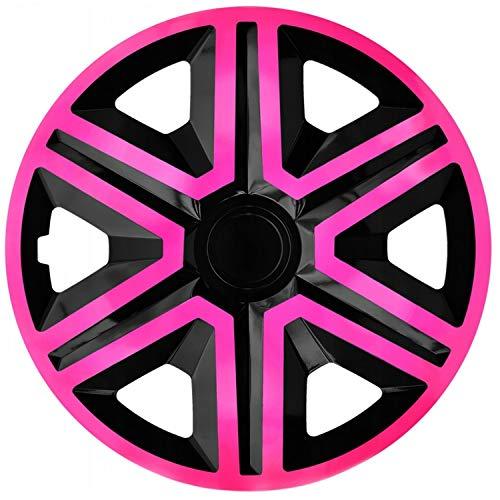 """NRM Action 4 x Universal Radzierblenden Radkappen Satz 4er Set Auto KFZ Zoll (Pink-Schwarz, 16\"""")"""