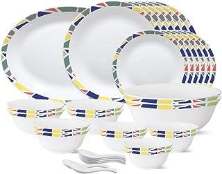 Larah by Borosil - Tiara Series, Garnet, 33 Pcs, Opalware Dinner Set, White