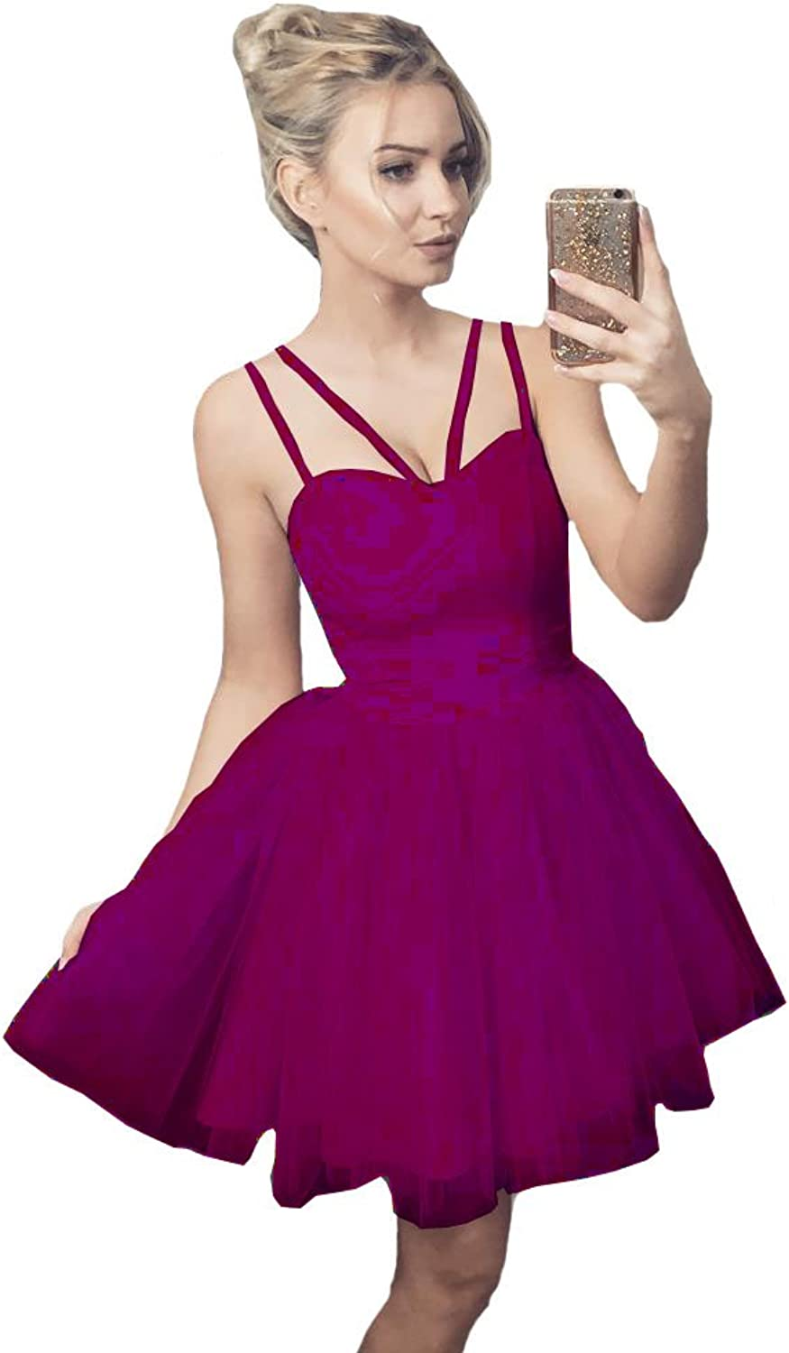 Lilyla Womens Simple A Line Homecoming Dresses Short Tulle Ball Gowns Graduation Dresses