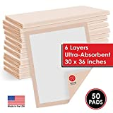 Super Absorbent Disposable Underpads - Waterproof 30' x 36' Bed Pads for Incontinence - Odor Blocking Chucks Dog Pee Pads - Chux Underpad Liners for Adults & Pets - Bed Protectors [50 Pack]