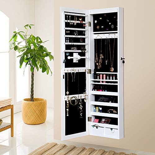 Cabinet Schmuckschrank Abschließbarer Wandtürschrank Mit Spiegel Und Led 2 Schubladen Weiß