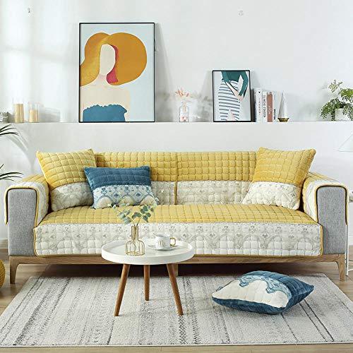 B/H Asiento Antideslizante sofá Funda Tejido,Cojín Grueso y cálido para sofá, cojín Antideslizante de Franela-Amarillo_90 * 180cm,Muebles Elegante Sofa Cubre