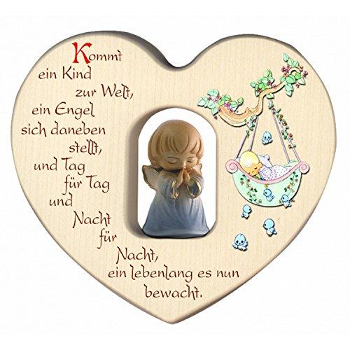Cœur pour garçon avec ange gardien pour naissance, décoration, chambre d'enfant, en bois.