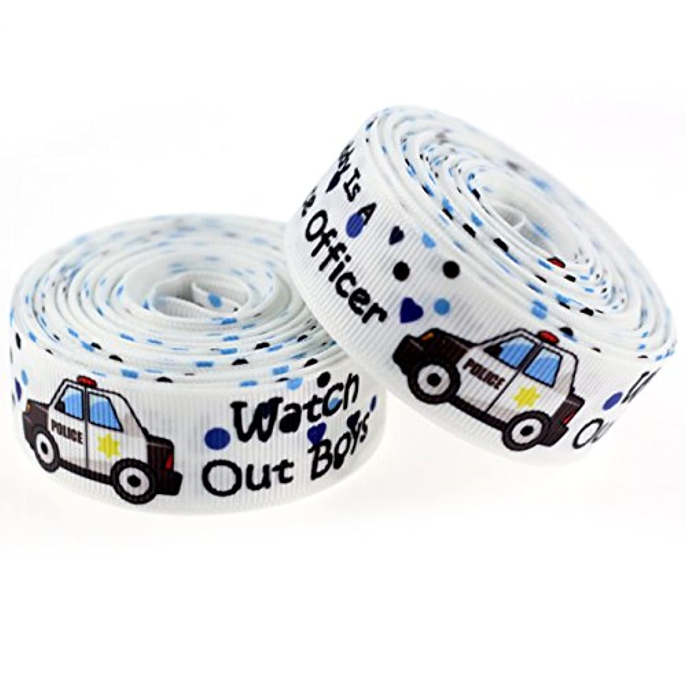 Midi Ribbon Value Pack Happy Father's Day Watch Out Boys Polica Car Single Face Printed Grosgrain Ribbon 7/8