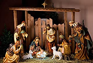 Yeele 6x4ft Birth of Jesus Photography Backdrop Christ Christmas Manger Scene Figurines Virgin Mary Little Sheep Background Pictures Party Banner Decor Portrait Photo Booth Shooting Studio Props