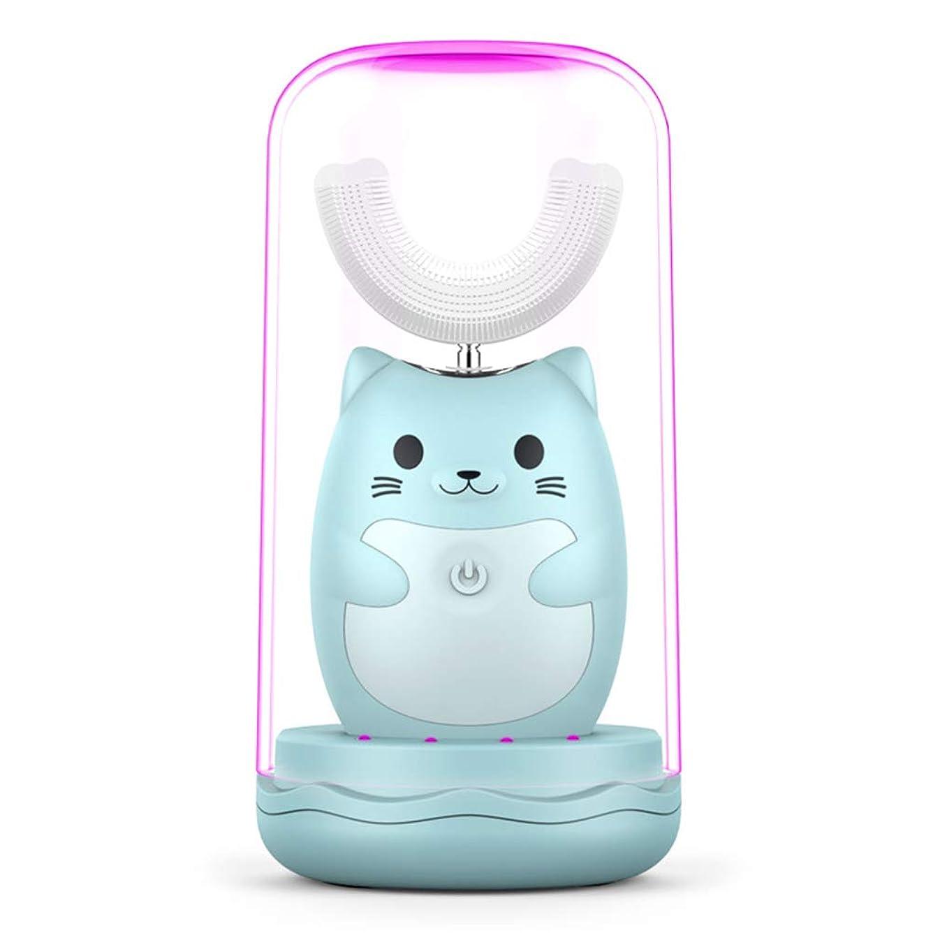自発的アカウント書き出す超音波子供電動歯ブラシ3スピードクリーニングモード歯ホワイトニング消毒うがいカップ6-12歳児