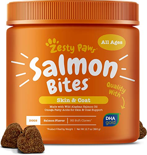 Salmon Fish Oil Omega 3 for Dogs  With Wild Alaskan Salmon Oil  Anti Itch Skin amp Coat  Allergy Support  Hip amp Joint  Arthritis Dog Supplement  Natural Omega3 amp 6  EPA amp DHA  90 Chew Treats