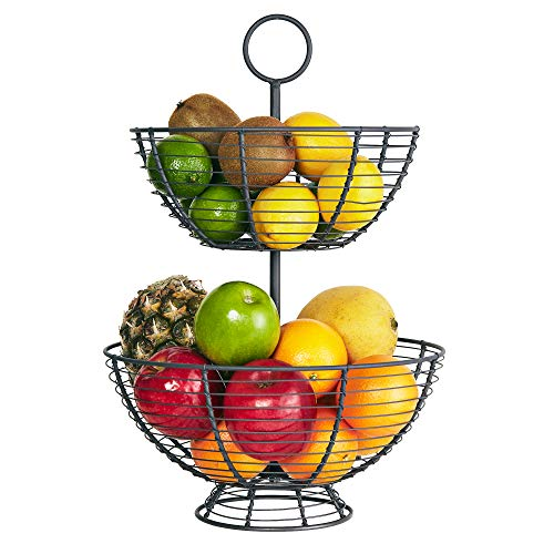 Farmhouse 2 Tier Fruit Basket  Wire Basket by Regal Trunk amp Co | Two Tier Fruit Basket Stand for Storing amp Organizing Vegetables Eggs and More | Fruit Basket for Counter Top 2 Tier