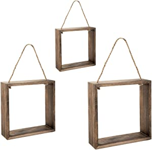 EMAX HOME Hanging Square Floating Shelves Wall Mounted Cube with Rope for Wall Decor, Set of 3 Rustic Solid Wood Wall Shelves for Bedroom, Bathroom, Living Room, Kitchen(Dark Brown)