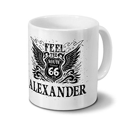 Tasse mit Namen Alexander - Motiv Route 66 - Namenstasse, Kaffeebecher, Mug, Becher, Kaffeetasse - Farbe Weiß