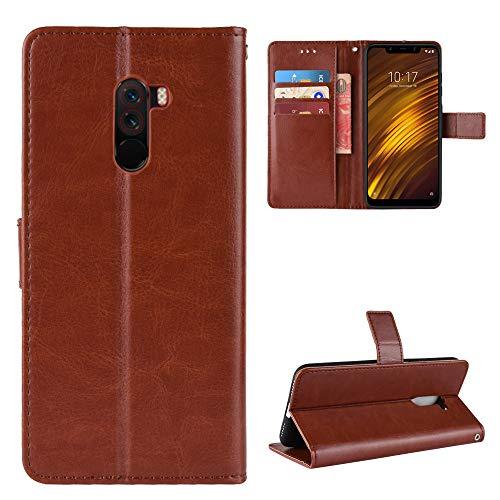 LODROC Xiaomi Pocophone F1 Hülle, TPU Lederhülle Magnetische Schutzhülle [Kartenfach] [Standfunktion], Stoßfeste Tasche Kompatibel für Xiaomi Pocophone F1 - LOBYU0301334 Braun