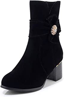 BalaMasa Womens ABS14138 High-Top Round-Toe Novelty Black Leather Boots - 7.5 UK (Lable:43)