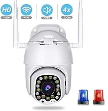 Cámara IP 1080P WiFi, cámara de vigilancia PTZ para Exterior/Zoom 4X, Audio bidireccional, visión Nocturna por Infrarrojos, detección de Movimiento, monitoreo Remoto,TF Card