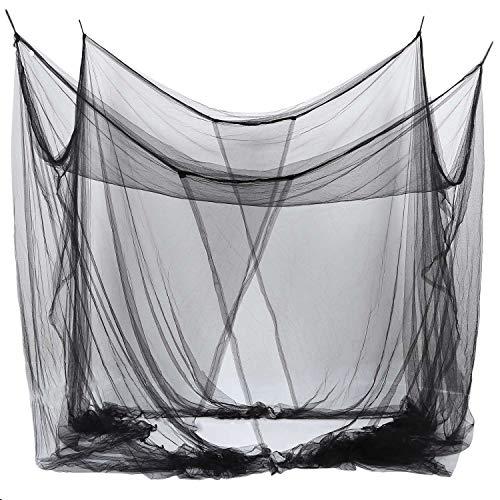 Tuneway 4-Ecke Bett Canopy Mueckennetz fuer Queen/King Size Bett 190 * 210 * 240cm (schwarz)
