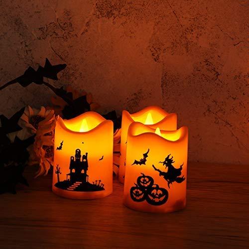 Uonlytech - Velas sin llama para Halloween, 6 unidades, diseño ondulado, color naranja, naranja, Größe 1