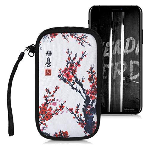 kwmobile Custodia in Neoprene con Zip per Smartphone L - 6,5  - Astuccio portacellulare a Sacchetto con Cerniera - Borsa Verticale - Fiori Cinesi Rosso Nero Bianco
