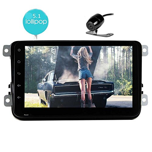 EinCar Upgrade Android 5.1 Car Stereo Quad Core 8 Inch Touch Screen Car Tablet GPS Navigation Vehicle Radio Audio Receiver 2 DIN Bluetooth Headunit CanBus for VW Jetta WiFi+Rear Camera
