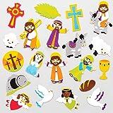 Baker Ross Pegatinas de Espuma Semana Santa (Pack de 120) para manualidades navideñas infantiles