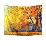 LB タペストリー 自然風景 秋の木 金