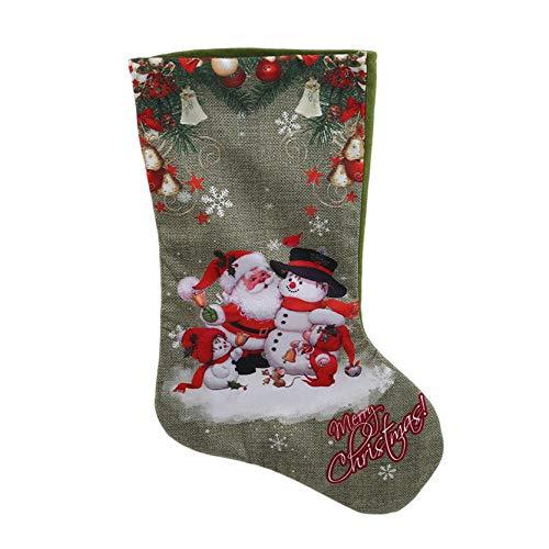 MAJFK Medias navideñas medias de punto calcetín de punto regalo Santa Claus muñeco de nieve reno mini botas regalo regalo decoración del árbol, hombre viejo en medias verdes