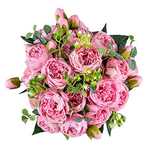 Bloembollen voor Centerpieces, Middelpunt van Het Huwelijk Bloem Plastic Bloemen Bruids Bruidsboeket, Kunstmatige Bloemstukken voor Verjaardag Ceremonie Partij Verjaardag Gangpad Woondecoratie(Roze)