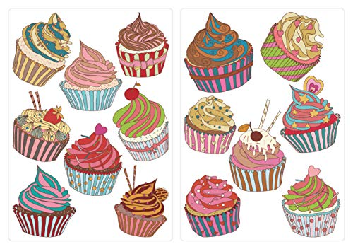 dekodino® Wandtattoo Cupcakes in bunten Farben 15 Stück Set Wandsticker