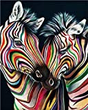 Xofjje Pintar por numeros para Adultos_Cebra de Color_Pintar por numeros para Adultos_Colores Brillantes Dibujos Lienzos por numeros_40x50cm_Sin Marco