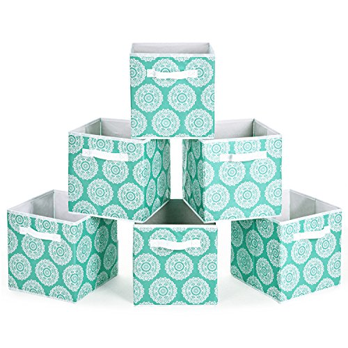 MaidMAX Collapsible Cloth Storage Bins Cubes Baskets Containers with Dual Handles for Home Closet Bedroom Drawers Organizers, Aqua Flower, 10.5 x 10.5 x 11″, Set of 6