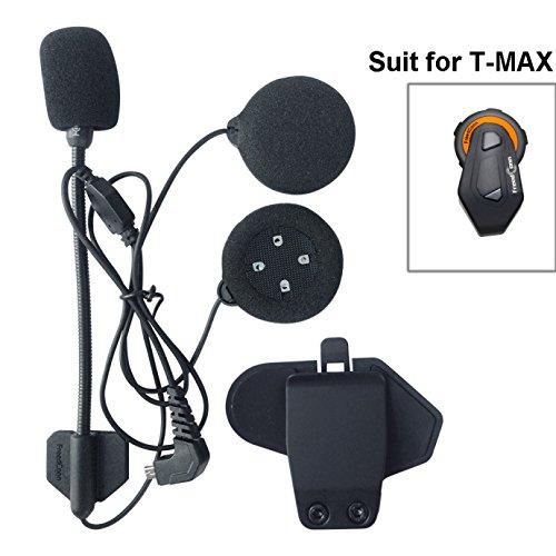 FreedConn Mikrofon-Lautsprecher-Headset und -Clip-Set, Zubehör für Motorradhelm-Bluetooth-Intercom-Headset T-MAX