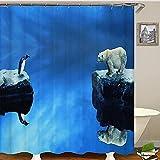 Blauer Duschvorhang Pinguin Eisbär Badvorhang Duschvorhang Duschvorhang Badvorhänge Duschvorhänge 180x200cm