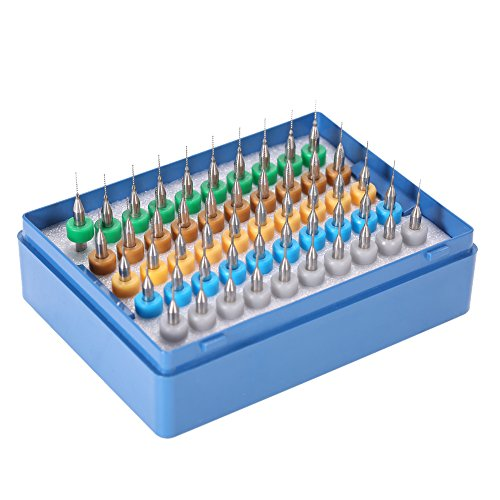 KKmoon 50 Stück HSS Hartmetall Mikrobohrer in Schutzbox, Mehr Spezifikationen Wolframstahl PCB Bohrer Bit Set 0.25+0.3+0.35+0.4+0.45mm Spiralbohrer für Leiterplatte Gravierwerkzeuge
