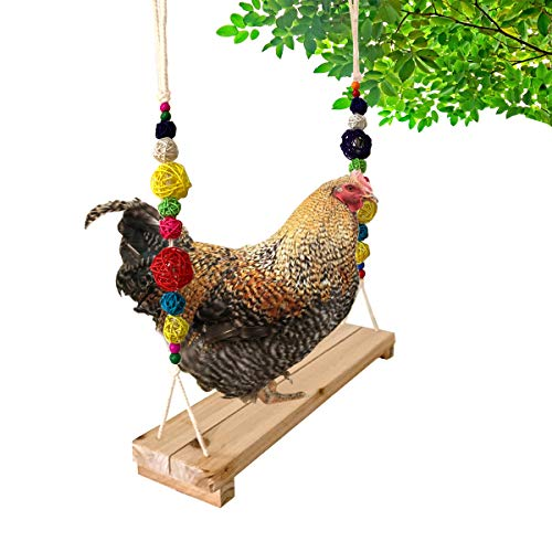 Vehomy Chicken Swing Chicken Perch Chicken Wood Stand Chicken Toy for Hens Handmade...