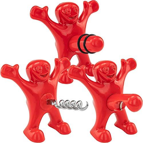 HIQE-FL 3 Stück Flaschenöffner Mann,Roter Mann Flaschenöffner,Weinflasche Stopper,Flaschenöffner,Stopper Set,Opener Geschenkset