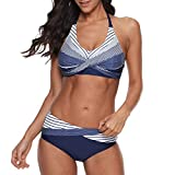 Zando Womens Swimsuits Halter Push Up Bikini Top with Briefs Two Piece Bathing Suits for Women Athletic Swimwear Ladies Swimsuits Dark Blue M (fits Like US 8-10)