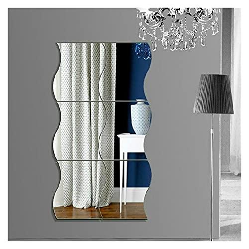 PETZMALL Miroir Mural Durable Acrylique DIY Style de Vague de Verre Amovible Autocollant de Maquillage Miroir Miroir Maison Chambre décorative (Argent) (Color : Silver)