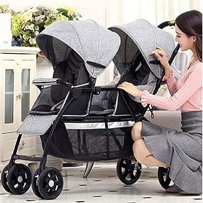 Baby Jogger Light Twin Cochecito de bebé Doble grande Niño sentado al lado del otro (Color : Gray)