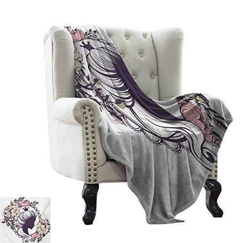 Manta estampada Queen, joven princesa retrato silueta en marco floral femenino Noble mujer estilo, ciruela marfil coral super suave peso ligero acogedor cálido felpa hipoalergénica 70 x 90 pulgadas