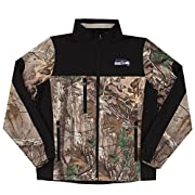 97% poly/3% spandex Soft-shell 4 way bonded Fleece Real Tree Xtra camo pattern with black color block Country of origin: China